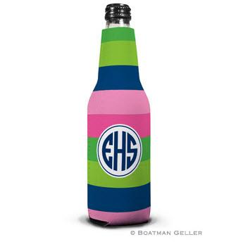 Boatman Geller Personalized Bold Stripe Pink, Green & Navy Bottle Koozie  Home & Garden > Kitchen & Dining > Food & Beverage Carriers > Drink Sleeves > Can & Bottle Sleeves