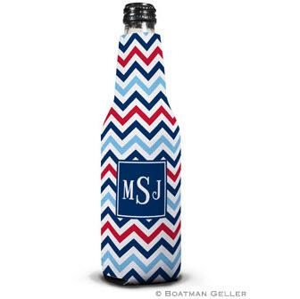 Personalized Chevron Blue & Red Bottle Koozie by Boatman Geller  Home & Garden > Kitchen & Dining > Food & Beverage Carriers > Drink Sleeves > Can & Bottle Sleeves