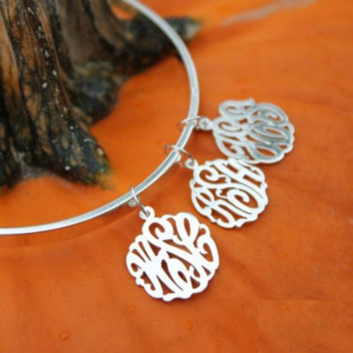 Monogrammed Bangle Bracelet with Added Charms  Apparel & Accessories > Jewelry > Bracelets