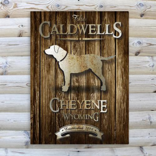 Monogrammed Canvas Rustic Wood Cabin Print in Nine Designs  Home & Garden > Decor > Novelty Signs