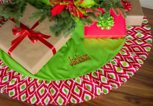 Monogrammed Ikat Christmas Tree Skirt   Home & Garden > Decor > Seasonal & Holiday Decorations > Christmas Tree Skirts