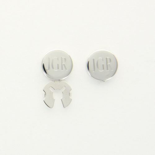 Monogrammed Round Silver Button Covers Rhodium plated button covers Apparel & Accessories > Jewelry
