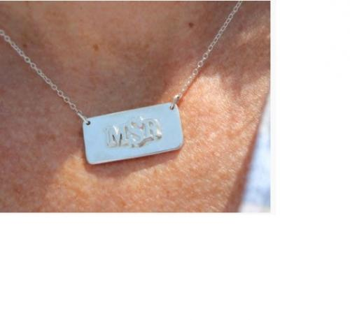 Raised Monogrammed Bar Necklace in Sterling Silver  Apparel & Accessories > Jewelry > Necklaces