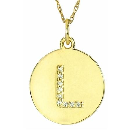 Diamond Single Letter Pendant in 14 Karat Solid Gold  Apparel & Accessories > Jewelry > Necklaces