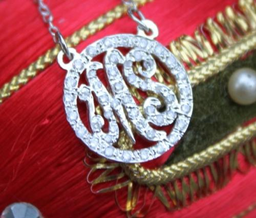 Monograms and Diamonds Round Script Necklace  Apparel & Accessories > Jewelry > Necklaces