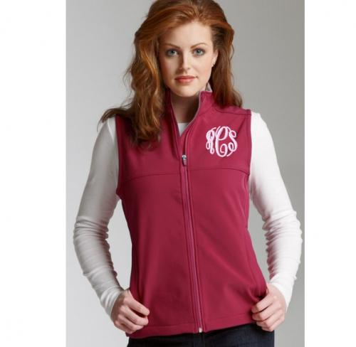 Monogrammed Ladies Charles River Soft Shell Vest in 3 colors  Apparel & Accessories > Clothing > Outerwear > Vests