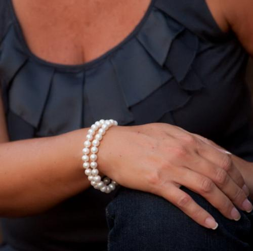 Double Strand White 7mm Cultured Pearl Bracelet   Apparel & Accessories > Jewelry > Bracelets