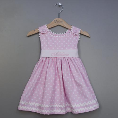 Monogrammed Polka Dot Pique Sash Dress in Pink  Apparel & Accessories > Clothing > Baby & Toddler Clothing > Baby & Toddler Dresses