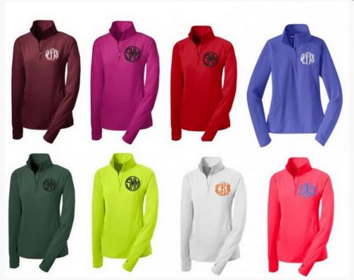 Monogrammed Ladies Quarter Zip Sports Wicking Pullover (More Colors)  Apparel & Accessories > Clothing > Activewear