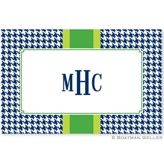 Boatman Geller Personalized Alex Houndstooth Navy Laminated Placemat  Home & Garden > Linens & Bedding > Table Linens > Placemats