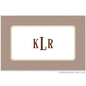Boatman Geller Personalized Heringbone Chocolate Laminated Placemat  Home & Garden > Linens & Bedding > Table Linens > Placemats