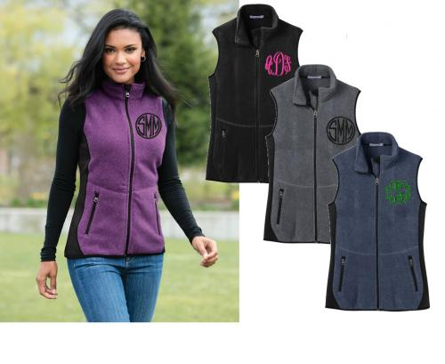 Ladies Monogrammed Contoured Fleece Vest for Warmth  Apparel & Accessories > Clothing > Outerwear > Vests