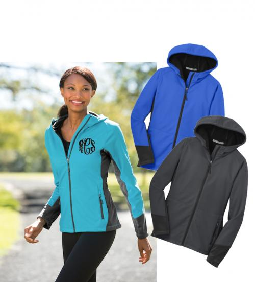 Monogrammed Hooded Soft Shell Rain Jacket with microfleece Interior Lining  Apparel & Accessories > Clothing > Outerwear > Rain Gear > Raincoats