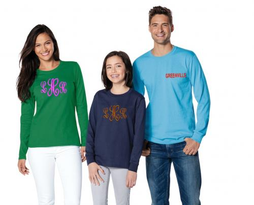Monogrammed Preppy Long Sleeve T Shirt   Apparel & Accessories > Clothing > Shirts & Tops > T-Shirts