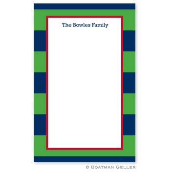 Boatman Geller Personalized Notepad in Rugby Navy & Kelly Pattern  Office Supplies > General Supplies > Paper Products > Notebooks & Notepads