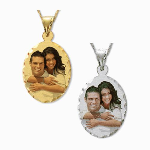 Color Portrait Oval Pendant with Diamond Cut Frame  Apparel & Accessories > Jewelry > Necklaces