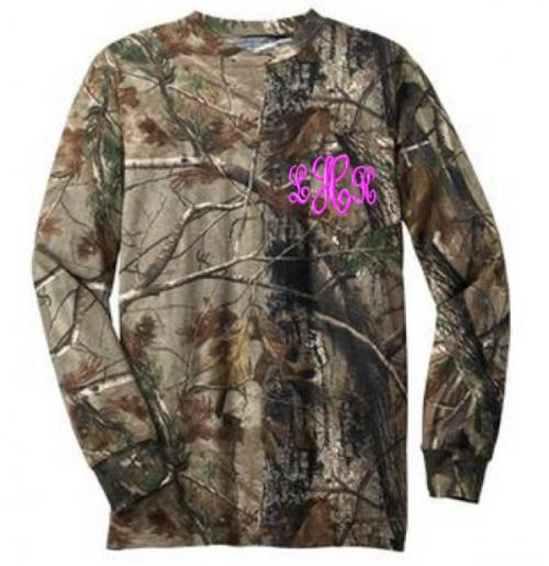 Monogrammed Camo Long Sleeve Pocket Tee Shirt  Apparel & Accessories > Clothing > Shirts & Tops > T-Shirts