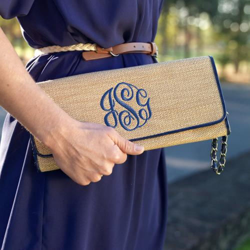 Straw Clutch with Navy Monogram and Trim  Apparel & Accessories > Handbags > Clutches & Special Occasion Bags