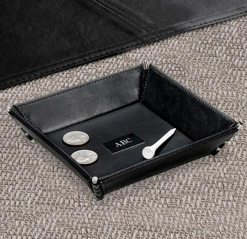 Personalized Catch All Black Leather  Home & Garden > Household Supplies > Storage & Organization > Dresser Valets