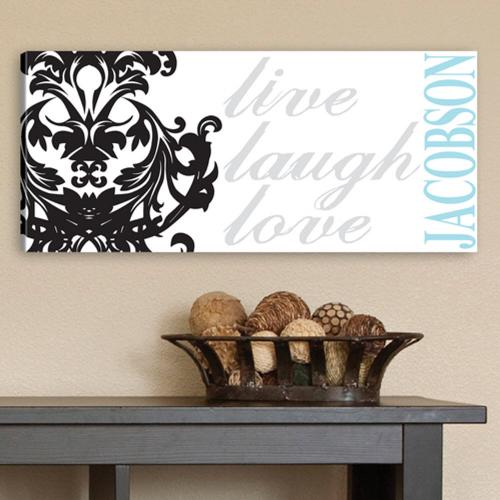 Personalized Canvas Live, Laugh, Love Filigree Print   Personalized Canvas Live, Laugh, Love Filigree Print  Home & Garden > Decor > Novelty Signs