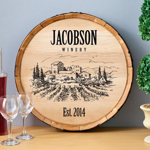 Personalized Wine Barrel Sign in Seven Designs  Home & Garden > Decor > Novelty Signs