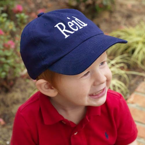 Monogrammed Child's Navy Ball Cap  Apparel & Accessories > Clothing Accessories > Baby & Toddler Clothing Accessories > Baby & Toddler Hats