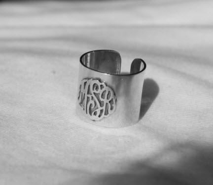 Raised Monogram Ring in Sterling Silver and 14K Gold Plated  Apparel & Accessories > Jewelry > Rings