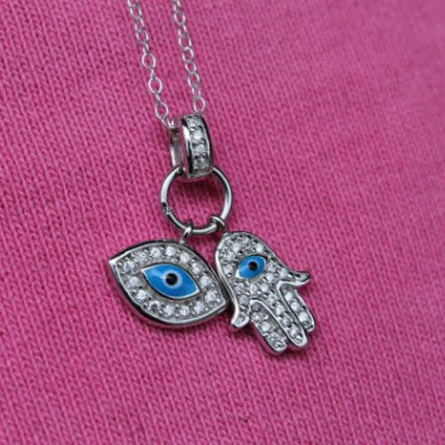 Sterling Silver Double Evil Eye Necklace a Hot Celeb Trend Now  Apparel & Accessories > Jewelry > Necklaces
