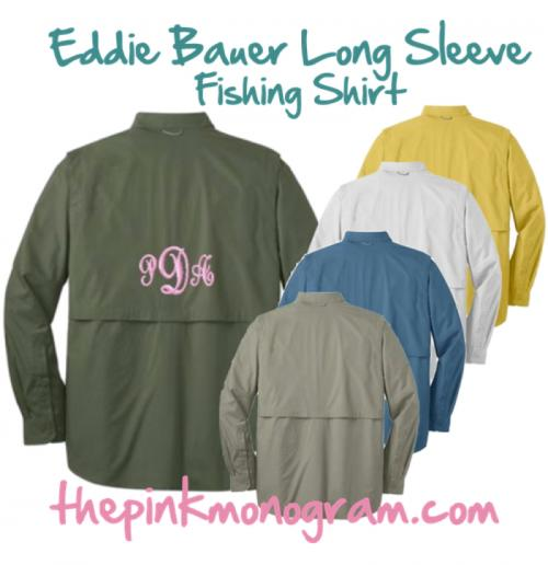 Monogrammed Eddie Bauer Long Sleeve Fishing Shirt   NULL