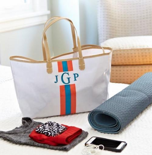 Monogrammed Canvas Racing Stripe Tote in 6 Colors  Apparel & Accessories > Handbags > Tote Handbags