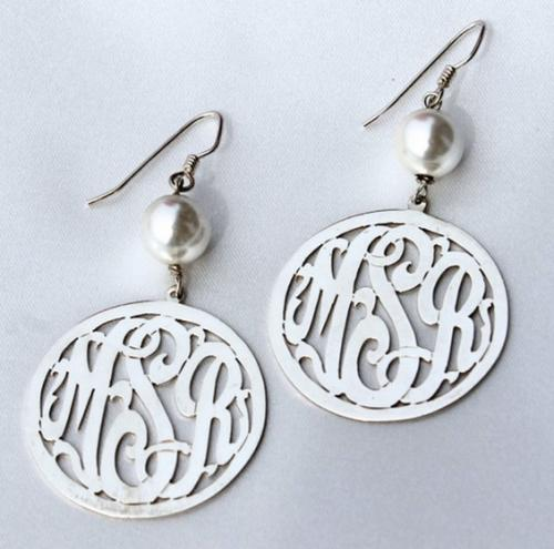 Monogrammed Border Script  Earrings with 10 mm pearl   Apparel & Accessories > Jewelry > Jewelry Sets