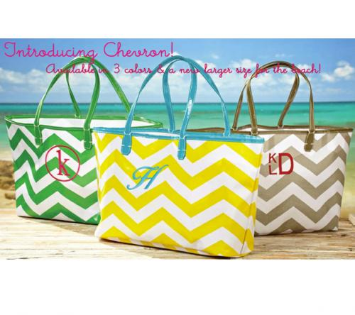 Monogrammed Chevron Totes Large or Small  Apparel & Accessories > Handbags > Tote Handbags