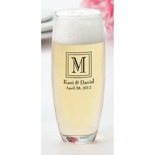 Monogrammed Stemless Champagne Flutes Case of 24  Home & Garden > Kitchen & Dining > Tableware > Drinkware > Stemware > Champagne Glasses