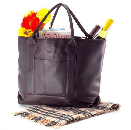 Personalized Leather Nantucket Tote in Black, Cafe or Tan  Luggage & Bags > Shopping Totes