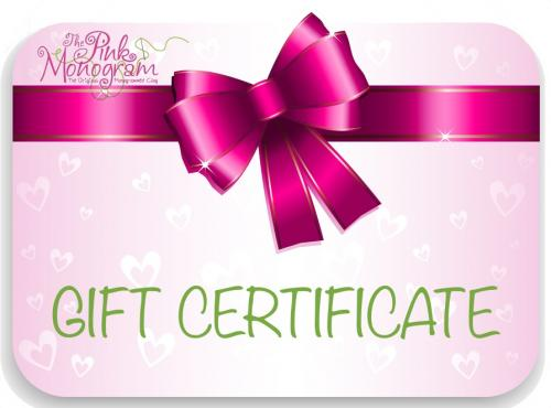 The Pink Monogram Gift Certificates  Buy Gift Certificate Gift Certificates > Vouchers and Certificates > Redeem