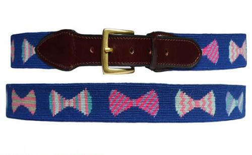 Navy Bow Tie Needlepoint Belt  Apparel & Accessories > Clothing Accessories > Belts
