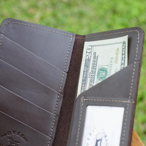 Leather Sportsmans Traveler Checkbook Wallet  Apparel & Accessories > Clothing Accessories > Wallets & Money Clips