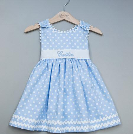 Monogrammed Girls Polka Dot Pique Sash Dress in Light Blue  Apparel & Accessories > Clothing > Baby & Toddler Clothing > Baby & Toddler Dresses
