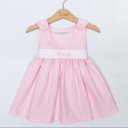 Monogrammed Pink Gingham Sash Dress  Apparel & Accessories > Clothing > Baby & Toddler Clothing > Baby & Toddler Dresses