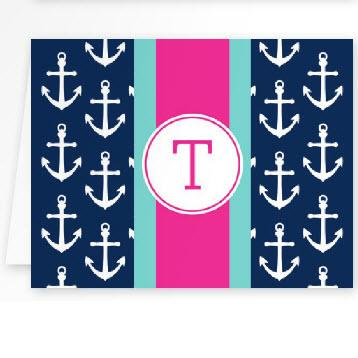 Boatman Geller Personalized Anchors Ribbon Note  Office Supplies > General Supplies > Paper Products > Stationery