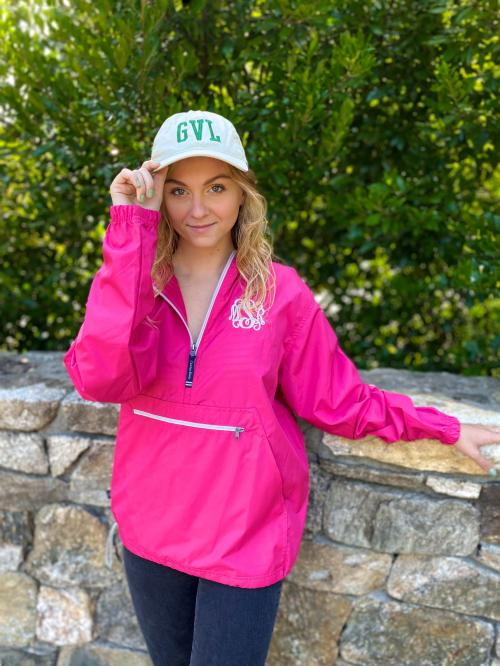 Monogrammed Rain Jacket Pack N Go Lightweight Pullover in 10 Colors  Apparel & Accessories > Clothing > Activewear > Active Jackets > Windbreakers