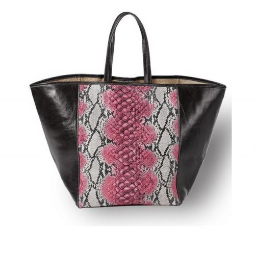 Snakeskin and Leather Tote in Pink, Black, Green or Orange   Luggage & Bags > Shopping Totes