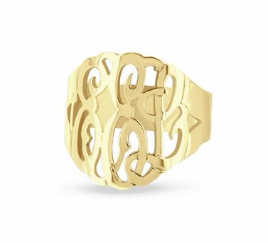 Monogrammed Ladies Hand Cut Solid Gold Ring 2 Sizies  Apparel & Accessories > Jewelry > Rings