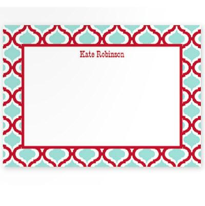 Boatman Geller Personalized Kate Red & Teal Flat Note  Office Supplies > General Supplies > Paper Products > Stationery