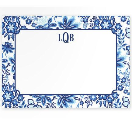 Boatman Geller Personalized Floral Blue Flat Note  Office Supplies > General Supplies > Paper Products > Stationery