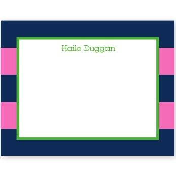 Boatman Geller Personalized Rugby Navy & Pink Flat Note  Office Supplies > General Supplies > Paper Products > Stationery