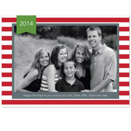 Personalized Stripe Red Flat Photocard  Office Supplies > General Supplies > Paper Products > Stationery