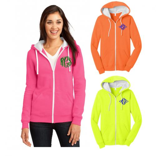 Monogrammed Juniors Neon Zip Up Jacket  Apparel & Accessories > Clothing > Outerwear > Coats & Jackets > Fleece Jackets