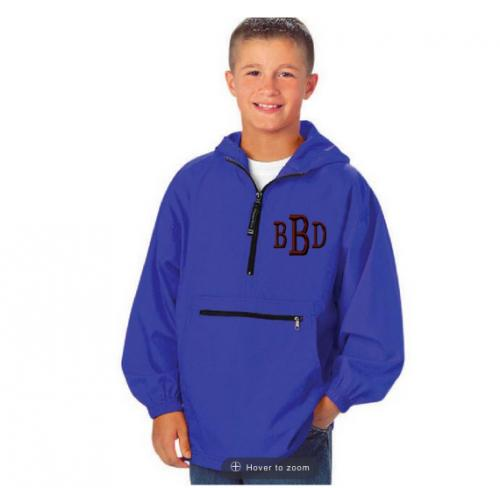 Monogrammed Youth Pack and Go Rain Jacket  Apparel & Accessories > Clothing > Outerwear > Rain Gear > Raincoats