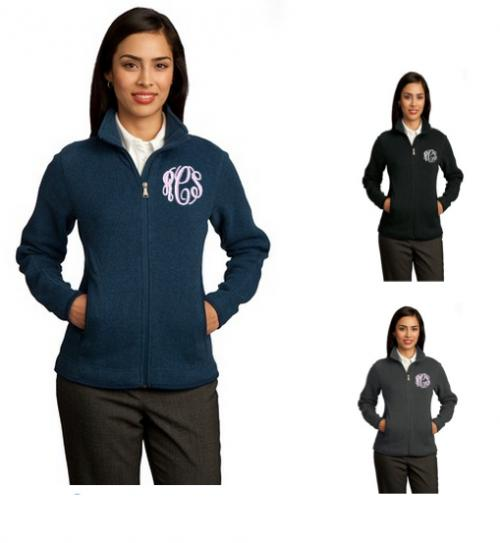 Monogrammed Sweater Fleece Jacket in Heather Gray and Navy or Black  Apparel & Accessories > Clothing > Outerwear > Coats & Jackets > Fleece Jackets